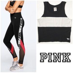 VS Pink High Waist Cotton Legging Crop Top Bundle